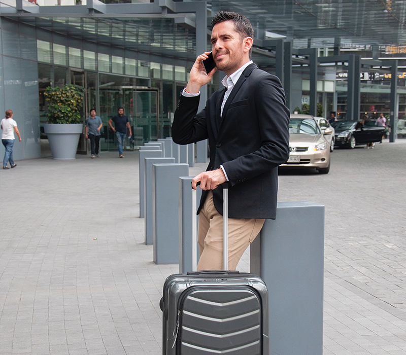 traveler business talking on the phone